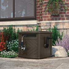 150 ft. Hose Reel Storage Bin Garden Box Winding Guide Leader Crank Brown Wicker