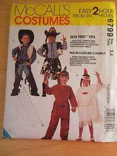 McCalls HALLOWEEN COSTUMES WESTERN  PATTERN 6799 Toddler/Child Size 2 thru 8