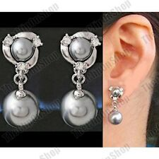 CLIP ON black grey pearl EARRINGS crystal WHITE GOLD PLTD SILVER TONE rhinestone
