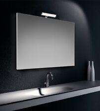 Specchiera specchio filo lucido con lampada led cromata 6W IP44, cm.90x60