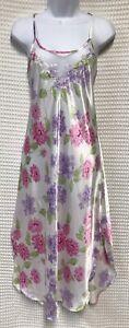 Cinema Etoile Medium White Pastel Floral Satin Midi Nightgown Sheer Netting Back