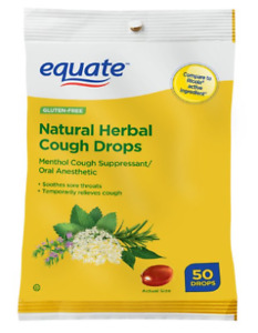 EQUATE NATURAL HERBAL COUGH DROPS, MENTHOL, 50 COUNT