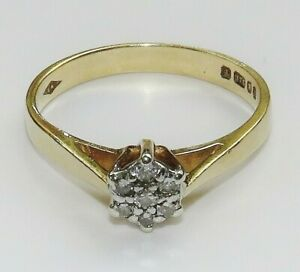 9ct Gold Diamond Daisy Cluster Engagement Ring size M