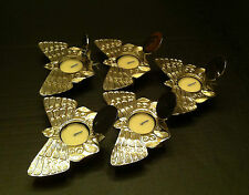 NEW 5 Pc Metal Tea Light Butterfly Candle Holder + Candle Hinged Lids India