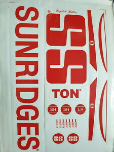 RETRO SS SUNRIDGES RED CRICKET BAT STICKERS. BUY ONE GET ONE FREE LIMITED OFFER