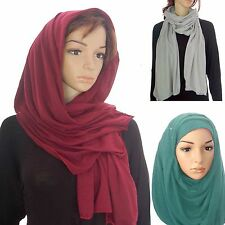 Jersey Stretchy Drape Long Cowl Neck Hijab Head Shawl Wrap Maxi Abaya Scarf