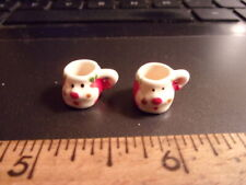 TEENY TINY SANTA MUGS- HANDCRAFTED  -  DOLL HOUSE MINIATURE