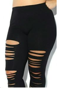 Plus size ripped black leggings Free Shipping