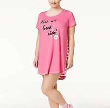 NWT Women's Pink Graphic Sleep-shirt Kiss Me Good Night Size XL