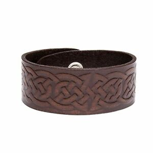 Viking Norse Celtic Knot Wide Real Leather Wrap Bracelet Brown/Black Wristband