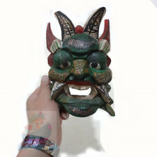 China Folk Art Wood Hand Carved Painted NUO MASK Walldecor-PanGu Deity tall-19cm