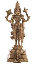 Lord Vishnu Brass Statue Antique Figurines