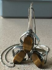 GENUINE TIGER'S EYE LARGE PENDANT in STERLING SILVER w 925 CHAIN STEAM PUNK