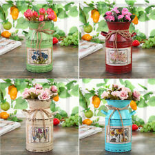 Vintage Iron Bucket Wedding Flower Vase Plants Rural Style Garden Decoration New