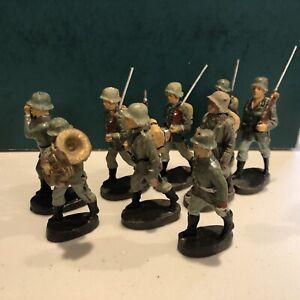 Elastolin: German Infantry Marching w/ Musicians. 70mm Scale. Pre War, c1940