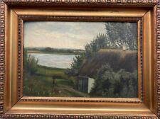 Altes Landhaus am Seeufer Fjord ? + Bilderrahmen Gold Antik um 1920 39 x 52 cm