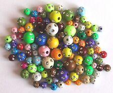 0,03€/Stk 100 Glitzer-Perlen Strass bunt 6 - 10 mm Acryl Spacer Beads Mischung