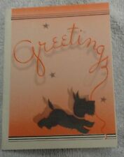 Scotty Scottie Dog Red Wash And Grey Stars Greetings Christmas Card