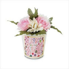 HAPPY BIRTHDAY Mini Fabric Roses  Flower Bouquet Terra Cotta Pot Gift Friend Her