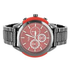 Men's Gino Milano Stainless Steel Back Red Face Presidential Look Band Watch