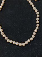 Vintage Marvella Long Strand Glass Pearl Necklace Hand Knotted Ivory Champagne