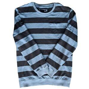Reef Men's Blue Black Striped Pull Over Jumper Size L Surfwear Pocket
