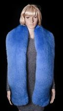 "Saga Furs Superior Sky Blue Fox Fur Handmade HUGE 78"" Stole Boa"