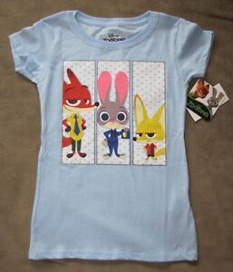 Disney's ZOOTOPIA *Trio* Blue Fitted S/S Tee T-Shirt Girls sz 6/6x