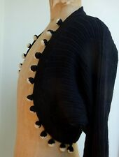 Vintage Pom Pom Shoulder Bolero Shrug Mid Century Black Goodwood Revival Top
