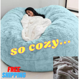Microsuede 7ft Foam Giant Bean Bag Memory Living Room Chair Lazy Sofa Soft Cover