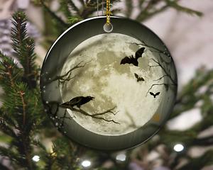 Spooky Halloween Crow and Bats Moon Christmas Ornament, Christmas Gift