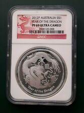 2012 Australia 1 oz Proof 999 Silver Dragon Coin - NGC PF 69 Ultra Cameo