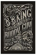 Blues Masters: BB King & Buddy Guy at Hollywood Concert Poster 2010  12x18