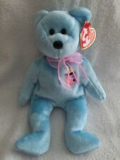 "TY BEANIE BABY ""EGGS II"" AUGUST 15, 2001 BLUE EASTER BEAR W/ PINK RIBBON - MWMT"