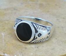 .925 STERLING SILVER ONYX PHOENIX EAGLE RING size 9  style# r1602