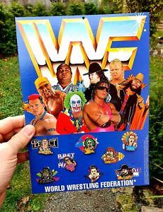 8X WWF Pins 1993 TITAN SPORTS Badges Complete Set BRET HART HULK HOGAN MACHO MAN