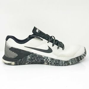 Nike Mens Metcon 4 AH7453-101 White Black Running Shoes Lace Up Low Top Size 9