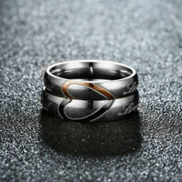 "Stainless Steel Heart Couples Ring Promise Engagement "" Real Love "" Wedding Band"