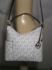 NWT Michael Kors Anita Navy White Vanilla PVC Large Convertible Shoulder MK Bag