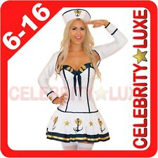 New White Navy Sailor Girl Uniform Ladies Fancy Dress Costume Jacket Sleeves Hat