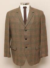 Vintage Mens 42R Toppers Brown/Rust/Green Plaid Wool Blazer