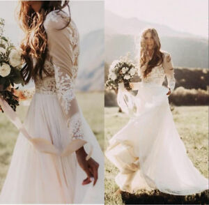 Lace Applique Bohemian Country Wedding Dress Sheer Long Sleeve Boho Bridal Gowns
