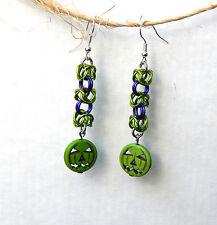 Handmade by Slave Violet Jewelry Alien Green Pumpkin Earrings with Purple Trim