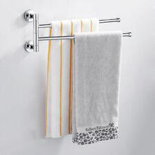 2 Arm Wall Mounted Chrome Towel Rail Swivel Rack Bathroom Holder Stainless Steel