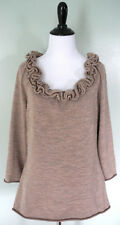 ANTHROPOLOGIE Moth Womens Brown Ruffle Wool Blend Sweater Top Shirt Sz Large EUC