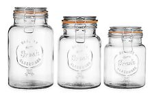 Glass Canister Fresh Set of 3 Round Clear Glass Storage Jars Airtight Kitchen