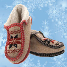 Ladies Fairisle Patterned Knitted Bootie Slippers Sherpa Lining / Non Slip Soles