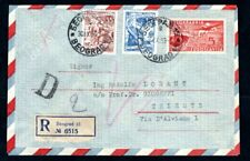 Yugoslavia 1953 Prepaid Registered Airmail Cover to Trieste with Uprated Postage
