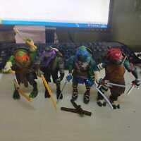"""2014 Teenage Mutant Ninja Turtles Movie 4"""" Action Figure TMNT 4pcs/Lot w/Weapons"""