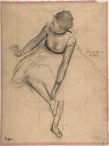Edgar Degas Dancer Adjusting Her Slipper Poster Reproduction Giclee Canvas Print